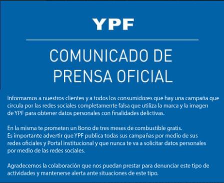 Comunicado Oficial de YPF